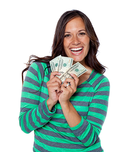 woman with dollars in cash from a loan